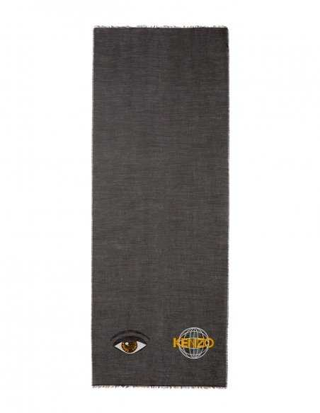 Écharpe Kenzo grise pour homme en laine mélangé, logo oeil et world