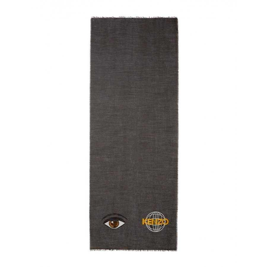 Echarpe kenzo en laine mélangé, bordures frangés, logo oeil et world 4251dab7519